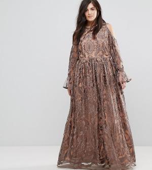 Truly You Платье макси с вырезами на плечах и вышивкой. Цвет: серый