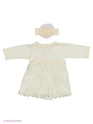 Комплект (платье с 2-мя бантами+повязка на голову), КОМПЛЕКТЫ ВЫПИСКУ Soni kids. Цвет: молочный
