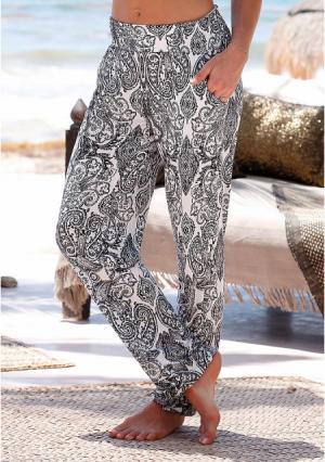 Пляжные брюки Lascana. Цвет: черный/белый