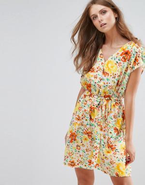 Anmol Платье с цветочным принтом. Цвет: желтый