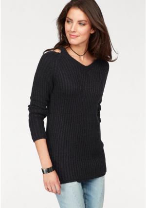 Пуловер Aniston. Цвет: бежевый, джинсовый синий, черный