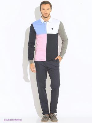 Лонгслив-поло Eden Park. Цвет: темно-синий, голубой, розовый, белый