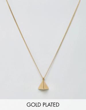 Love Bullets Позолоченное ожерелье с подвеской-пирамидой Lovebullets. Цвет: золотой