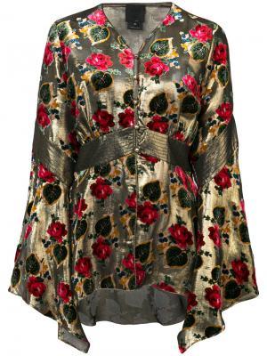 Блузка с цветочным узором Anna Sui. Цвет: металлический