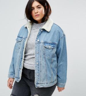 ASOS Curve Синяя выбеленная джинсовая куртка с искусственным мехом. Цвет: синий