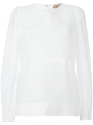 Прозрачная блузка с круглым вырезом Nº21. Цвет: белый