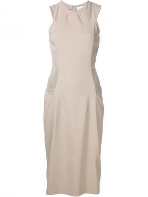 Приталенное платье с панельным дизайном Esteban Cortazar. Цвет: телесный