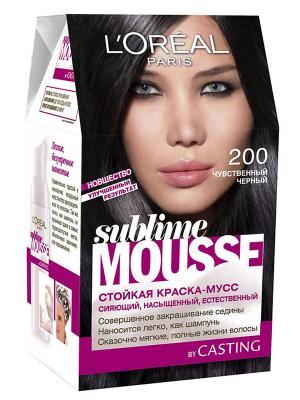 Стойкая краска для волос Sublime Mousse, оттенок 200, Чувственный черный, 209 мл L'Oreal Paris. Цвет: черный