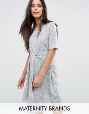 New Look Maternity Платье мини для беременных. Цвет: серый