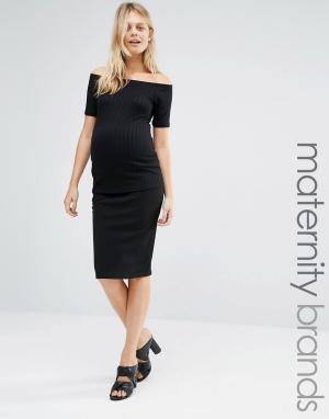 New Look Maternity Облегающая юбка миди для беременных. Цвет: черный