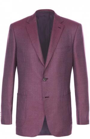 Однобортный приталенный пиджак из смеси кашемира и шелка Brioni. Цвет: бордовый