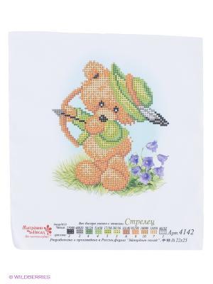 Схема вышивки Мишка Стрелец Матренин Посад. Цвет: белый, зеленый, коричневый