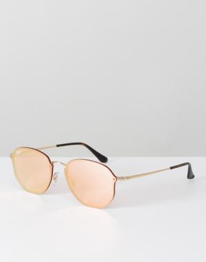 Ray-Ban Солнцезащитные очки с шестиугольной оправой и розовыми стеклами Ray Ba. Цвет: розовый
