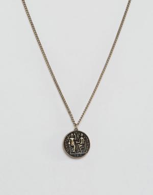 ASOS Золотистое ожерелье с монеткой. Цвет: золотой