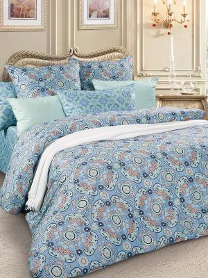 Комплект постельного белья, сатин, 1,5-спальный Letto. Цвет: серо-голубой, бежевый, бирюзовый