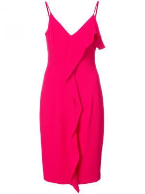 Платье с оборками Black Halo. Цвет: розовый и фиолетовый