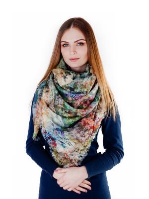 Платок большой Русские луга Le Motif Couture. Цвет: светло-зеленый, светло-коричневый, серо-голубой