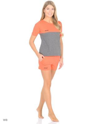 Комплект домашней одежды ( футболка, шорты) HomeLike. Цвет: серый, рыжий