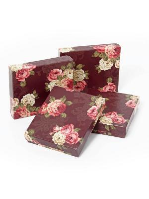 Набор из 4 картонных коробок Цветочный принт VELD-CO. Цвет: бордовый
