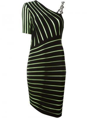 Асимметричное платье в полоску Fausto Puglisi. Цвет: чёрный