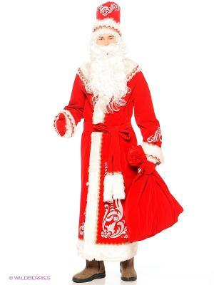 Карнавальный костюм Дед Мороз аппликация Батик. Цвет: красный