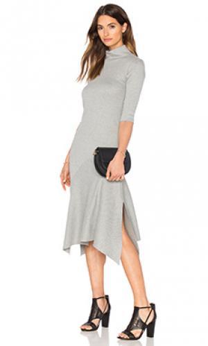 Платье миди surrealist asymmetric Viktoria + Woods. Цвет: серый