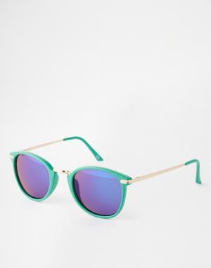 Trip Зеркальные круглые солнцезащитные очки. Цвет: зеленый