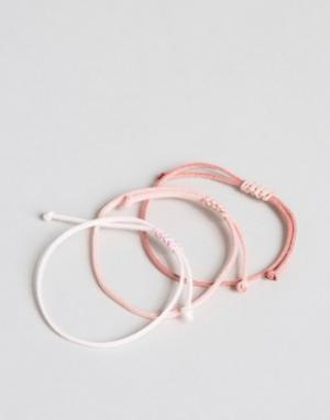 ASOS Набор браслетов из искусственной замши. Цвет: розовый