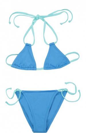 Раздельный купальник color block NATAYAKIM. Цвет: голубой