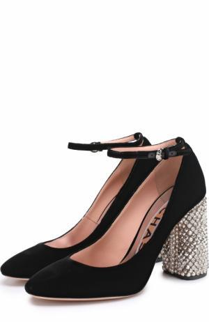 Бархатные туфли на декорированном каблуке Rochas. Цвет: черный
