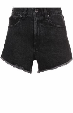 Джинсовые мини-шорты с потертостями Rag&Bone. Цвет: черный