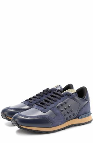 Кожаные кроссовки Rockrunner с замшевой отделкой Valentino. Цвет: темно-синий