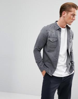 Lee Зауженная джинсовая рубашка серого цвета в стиле вестерн. Цвет: серый