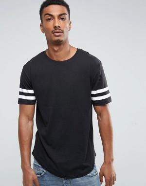 Troy Длинная футболка с закругленным краем и полосками на рукавах. Цвет: черный