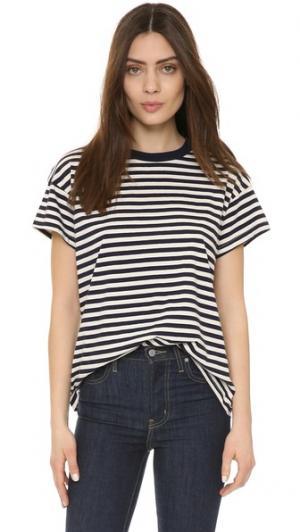 Свободная футболка с округлым вырезом THE GREAT.. Цвет: темно-синие и кремовые полоски