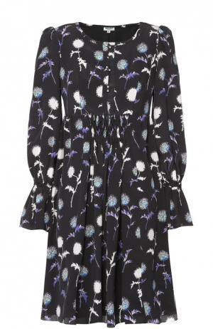 Шелковое мини-платье с завышенной талией и цветочным принтом Kenzo. Цвет: черный