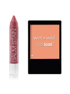 Набор Wet n Wild № 46 помадa balm stain + румяна тон E126 и E3272. Цвет: бордовый, персиковый