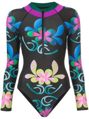 Костюм для серфинга с цветочным узором Cynthia Rowley. Цвет: чёрный