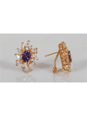 Серьги аметист Lotus Jewelry. Цвет: золотистый, фиолетовый