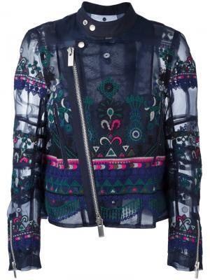 Байкерская куртка с вышивкой и орнаментом Sacai. Цвет: синий