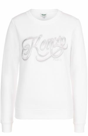 Свитшот прямого кроя с вышитым логотипом бренда Kenzo. Цвет: белый