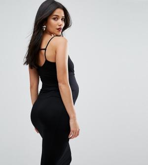 ASOS Maternity Облегающее платье миди для беременных с лямками сзади. Цвет: черный