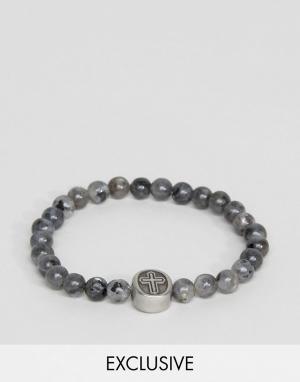 Seven London Серый браслет из бусин с крестиком эксклюзивно для ASOS. Цвет: серый