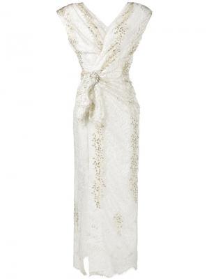 Кружевное платье с плечиками Alessandra Rich. Цвет: белый