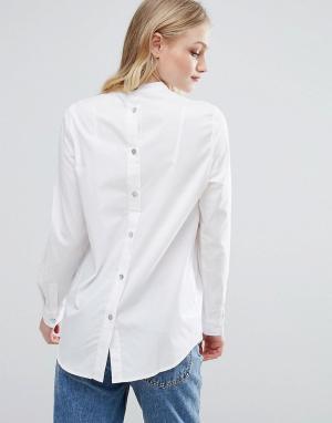 ADPT Рубашка без воротника Notes. Цвет: белый