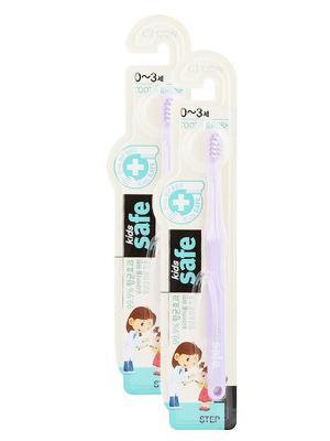 Детская зубная щетка Kids safe toothbrush (шаг 1,0-3 лет) сиреневая х 2шт Cj Lion. Цвет: сиреневый