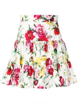 Мини-юбка с принтом роз Dolce & Gabbana. Цвет: белый