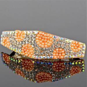 Заколка-автомат, арт. 01-394 Бусики-Колечки. Цвет: оранжевый