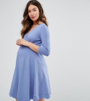 ASOS Maternity - Nursing Короткое приталенное платье для беременных с запахом. Цвет: синий