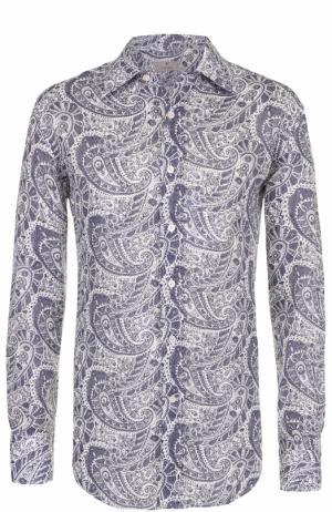 Льняная рубашка с узором пейсли Canali. Цвет: синий